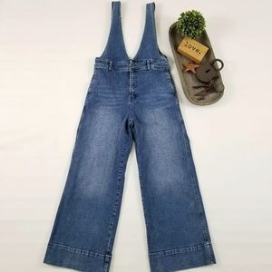 Free People A-Line medium wash denim overalls